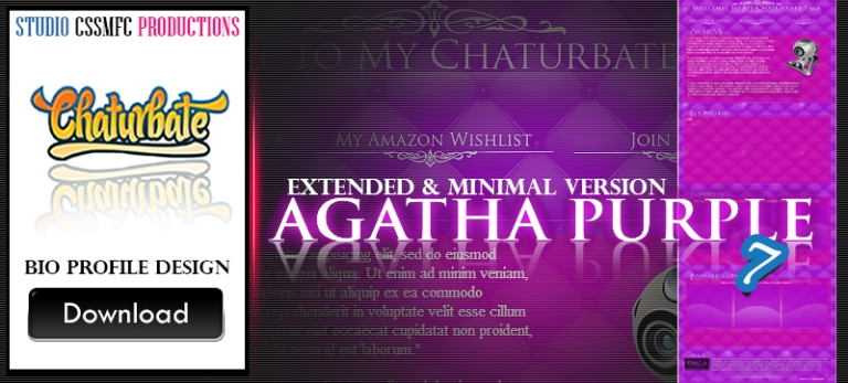 Chaturbate bio design 7- Agatha Purple